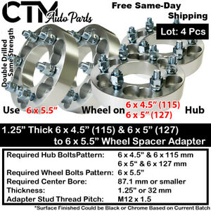 """4PCS 1.25"""" THICK 6x4.5(115) & 6x5(127) TO 6x5.5 87mm C.B. WHEEL SPACER ADAPTER"""