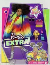 2020 Barbie Extra Doll #1 AA in Rainbow Coat with Pet Poodle