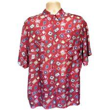 Mens Vintage 1980s C&A Hip Hop Festival Silk Short Sleeve Shirt Size M