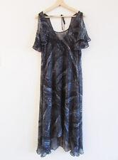 Portmans Sz S NWT $129.95 Grey Hazy Print Chiffon Open Shoulder Flowy Dress Slip