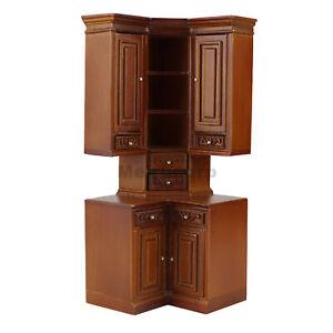 Fine 1/12 Scale Miniature Furniture Modern Classical Wooden Corner Cabinet