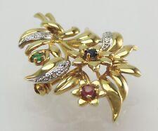 Brosche mit Diamanten/ ca.0.05 ct. Rubin & Saphir / Smaragd 750er 18 Karat Gold