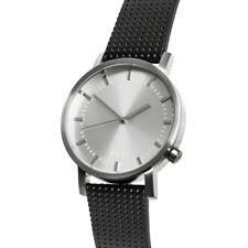 Silver + Black Leather Minimalist Watch for Men Swiss Quartz Nixon/Komono Style