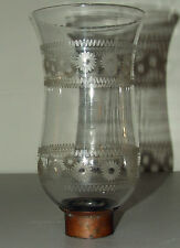 Antique 1800s Hand Blown with Etched Daisies Hurricane Candle Lamp Chimney Shade
