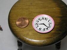 """Miniature Dollhouse Pressed Metal Kitchen Clock w/ Pink 1 1/16"""" dia"""