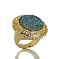 Bellezza Drusy Quartz Goldtone Rope Detail Ring Size 5 Hsn