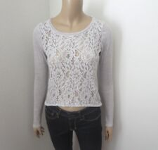 Hollister Womens Sequin Shine Crop Top Size Small Light Gray