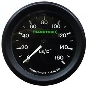 "Racetech Oil Pressure Gauge 0-160 PSI Backlit With 1/8"" BSP (Nipple) Fitting"