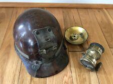 Vintage 1920s MINING HELMET w/ Miner's Carbide Lamp & Union Button!!!