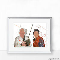 BACK TO THE FUTURE Print Poster Watercolour Framed Canvas Wall Art Gift Movie