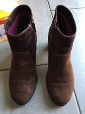 Desigual Ladies Brown Suede Heeled Ankle Boots Size 39 / 6. Great Condition.