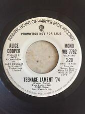 Alice Cooper Teenage Lament '74 Promo Stereo & Mono 45 Rpm NM