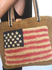 Amanda Smith Sisal Bag American USA Flag Designer Fashion Boho Chic