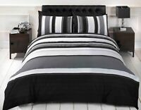 Rapport Detroit Black & Grey Striped Duvet Cover Bedding Set