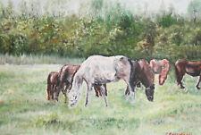 Impressionist landscape horses oil painting  signed