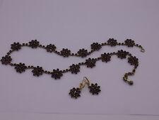wunderschönes Granat Collier + Ohrringe Gold 333 punziert