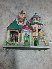 Enchanted Christmas Village Porcelain Lighted Toy Shop W/Real Glass Window