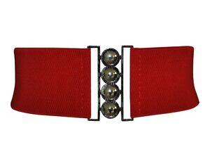 Red Stretch Elasticated Cinch Waspie Nurses Belt New 8 - 18