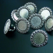 10 RING VERSTELLBAR für 25 mm CABOCHONS Farbe SILBER Vintage - p00596x5