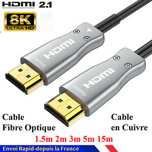 Cable HDMI 2.1 8K 4K 120Hz 2 mètres compatible HDR UHD eARC 48Gb/Sec