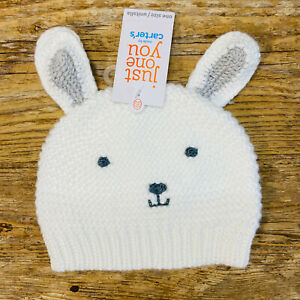 Carter's Super Soft Knit Baby Beanie Hat With Bunny Rabbit Ears & Face- White