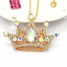 AB Crystal Shiny Crown Rhinestone Pendant Betsey Johnson Sweater Chain Necklace