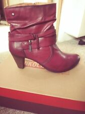 Brand New In Box Pikolinos Red Leather Ankle Boots Size 8