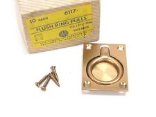 NOS VINTAGE SAFE PADLOCK & HARDWARE FLUSH RING PULL, CAST BRASS, BRONZE, 6117-10