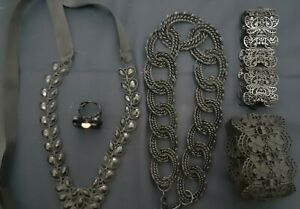 Gothic Stament Jewellery lot black metal necklace ring bracelet chunky elegant