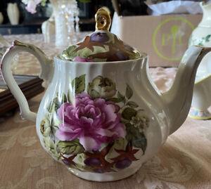 Vintage Teapot Sadler Windsor Made In England Floral Beautiful Pink Rose Flowers