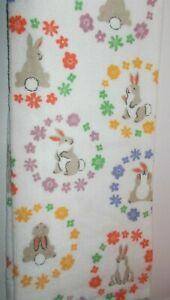 FULL UNCUT EASTER FLORAL RINGS &  BUNNIES Print Cotton Kitchen Towel