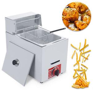 Commercial Countertop 10L Gas Fryer 1 Basket Propane (LPG) Metal Tube Deep Fry
