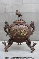 Chinese Royal Red Copper Bronze Foo Dog Lion Peony Phoenix Incense burner Censer