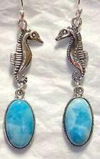 BTS-NEA0331//LR//R Sterling Silver Drop Earrings w// Oval Larimar Stones