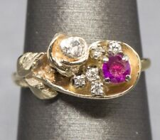 Sweet Vintage Ruby and Diamond Rose Birthstone Wedding Anniversary Ring in 14k