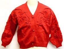 Girls Kids Knitted `Red Cardigan Sweater Style Jumper Winter Warm Crew Brooch
