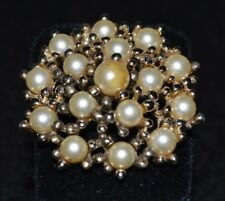 """Faux Pearl Round 1.75"""" Pre-Owned Vintage Emmons Costume Jewelry Golden"""