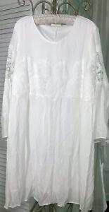 NEW Plus Size 1X Ivory Peasant Dress Lace Crochet Gauze