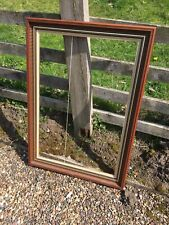 Large Vintage Wooden Canvas Picture Frame Gold Trim Dark Stained