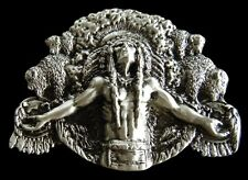 NORTH AMERICAN NATIVE INDIAN CHIEF WESTERN BELT BUCKLE BOUCLE DE CEINTURE