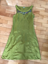 Noa Noa Lime Green Embroidered Dress Tunic Size XS  Silk