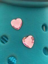 2 Pink Gem Heart Shoe Charms For Crocs & Jibbitz Wristbands