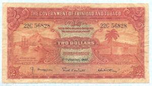 TRINIDAD & TOBAGO 2 Dollars 1939 P6b F