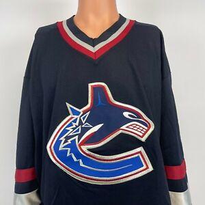 CCM Vancouver Canucks Blank Jersey Vtg 90s NHL Hockey Sewn Blue Size XL
