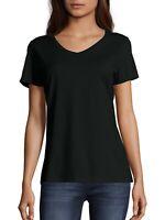 Hanes Women's Lightweight Short Sleeve V-neck T Shirt, Black, XS, M