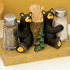 Big Sky Carvers Bearfoots Bear Salt & Pepper Set with toothpick holder