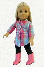 Doll Clothes fit 18 inch American Girl Pink Plaid Shirt and Dark Navy Leggings