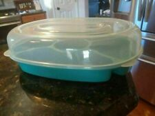 Vintage 1 Aero Green Party Platter Divided 5 Compartment Server 2Pc Food Storage