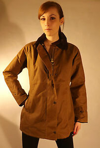 New Ladies Fitted Jacket Light Tan British Wax Cotton Country Walking Outdoor