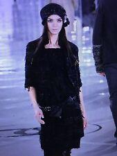 Chanel 05A MOST WANTED LESAGE BLACK TWEED LACE RIBBON SKIRT CC LOGO FR38 $3.5K